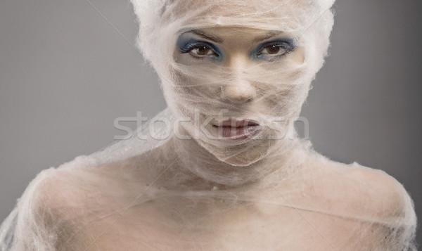 Portre genç kadın bandaj kadın el Stok fotoğraf © konradbak