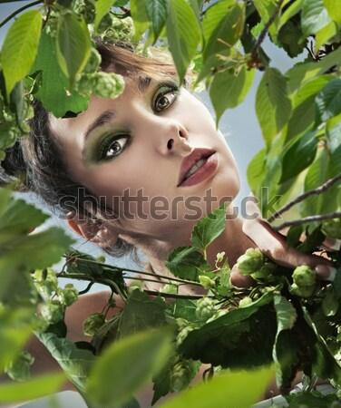 若い女性 雨林 水 手 セクシー 髪 ストックフォト © konradbak
