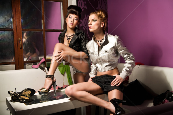 Glamour style photo of two cute girls Stock photo © konradbak