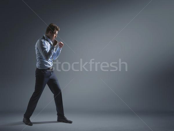 Yorgun bankacı kavga başarı işadamı iş Stok fotoğraf © konradbak