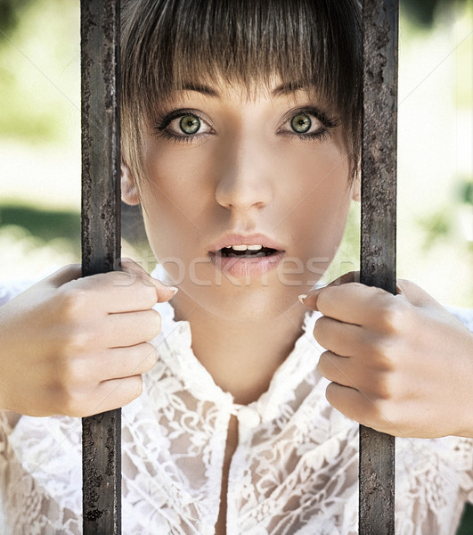 Portré divatos hölgy nő szépség gyönyörű Stock fotó © konradbak