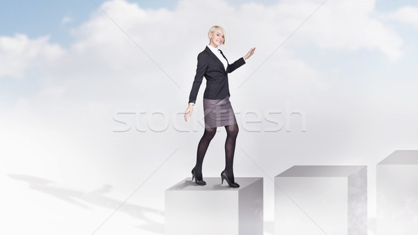 小さな 女性実業家 プロモーション ビジネスマン 電源 成功 ストックフォト © konradbak