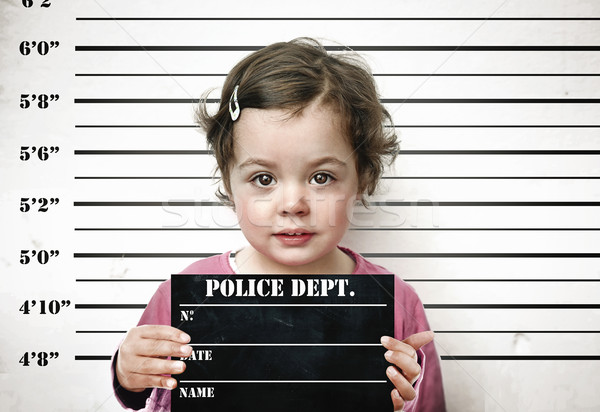 Little child posing with a prison board Stock photo © konradbak