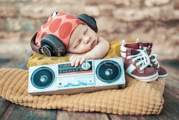 Portrait of the young newborn DJ Stock photo © konradbak