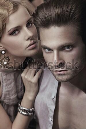 Sensual marriage couple in romantic pose Stock photo © konradbak