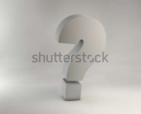 Picture of huge chrome question mark Stock photo © konradbak