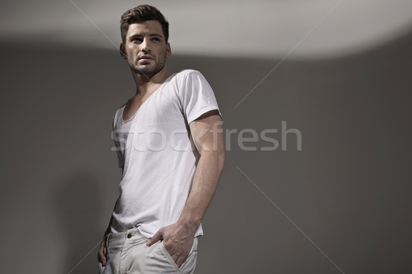Muscular handsome man wearing spring clothes Stock photo © konradbak