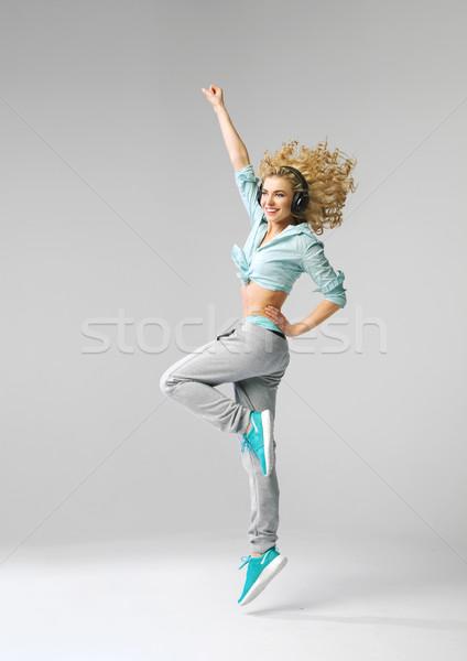 ストックフォト: かなり · 満足した · 女性 · 音楽 · 女性 · 少女