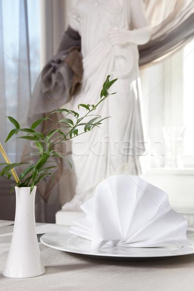 красивой посуда комнату отель обеда пластина Сток-фото © konradbak