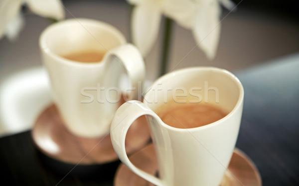 Twee porselein koffie cafe zwarte Stockfoto © konradbak