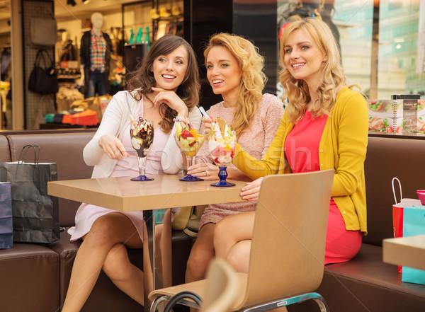 Stockfoto: Drie · glimlachend · vriendinnen · pauze · tijd · kort
