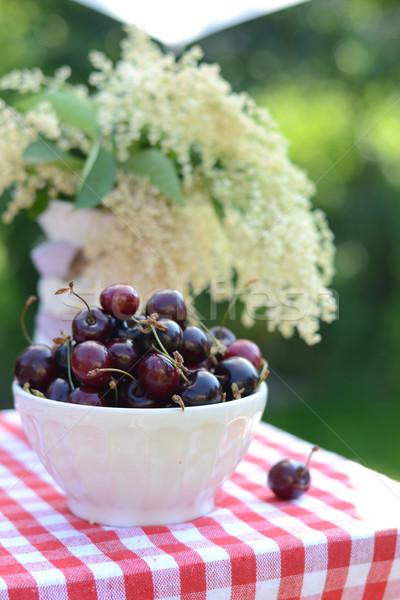 Ripe sweet cherries on a table in the garden Stock photo © konradbak