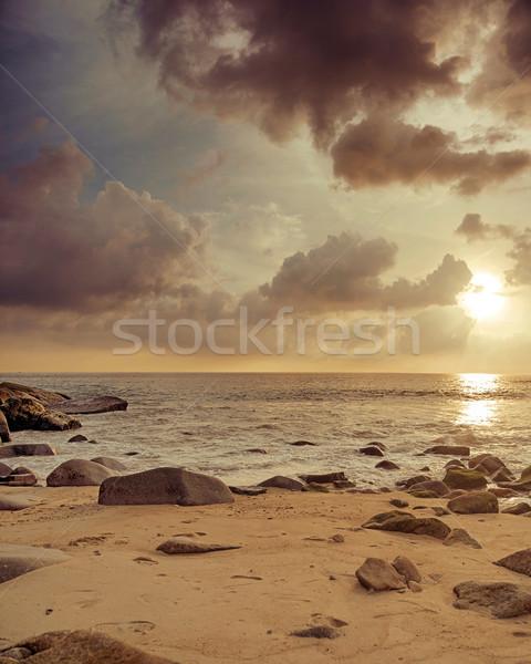 Great sunset at the tropical island Stock photo © konradbak