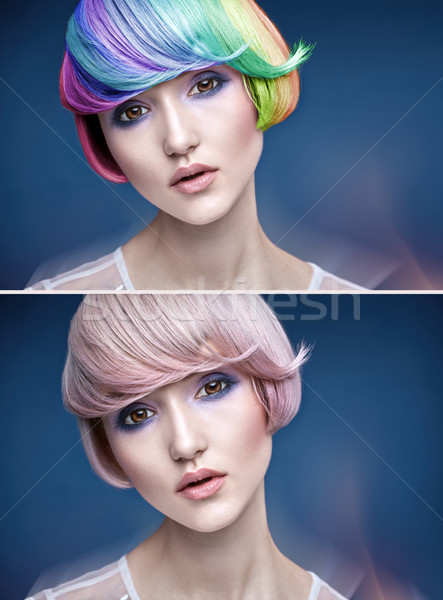Portrait of a young lady with a colorful hairstyle Stock photo © konradbak