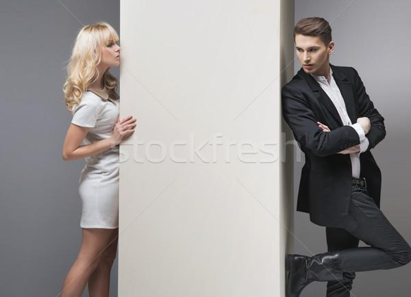 Stock fotó: Csábító · szőke · nő · zsákmány · fiúbarát · szőke · nő · lány