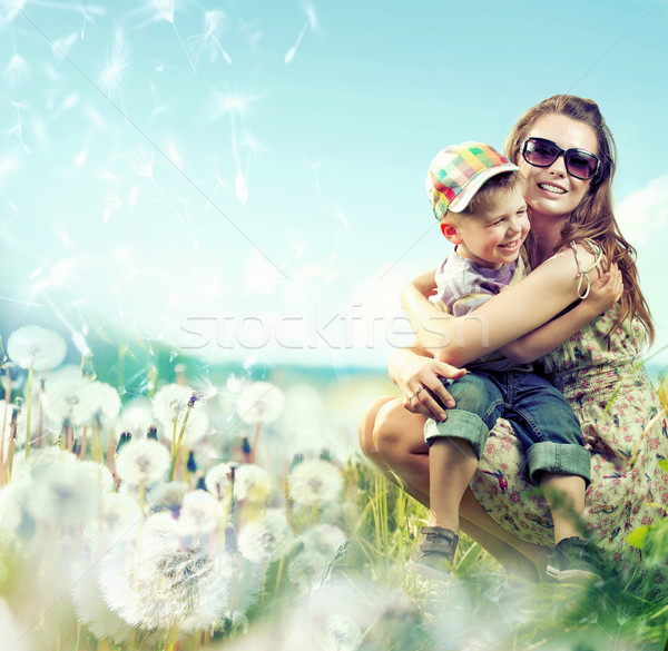 Pretty mom huging her small lovely boy Stock photo © konradbak