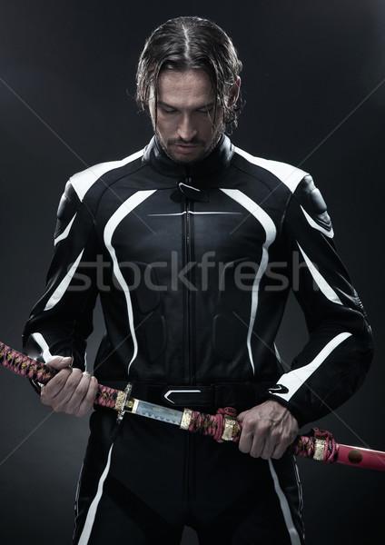Homem bonito samurai espada estrada homem Foto stock © konradbak