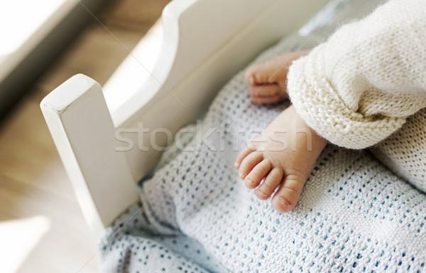 Newborn baby's cute little foot Stock photo © konradbak