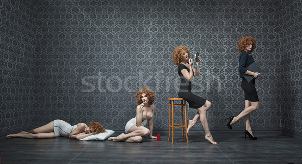 Photo collage of a typical morning of a young businesswoman Stock photo © konradbak