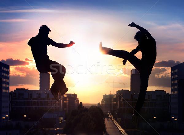 Dos capoeira ciudad hombre deporte naturaleza Foto stock © konradbak