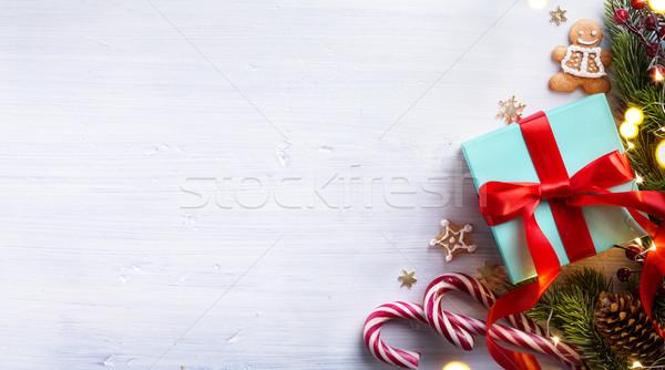 Karácsony ünnepek fehér fából készült karácsonyfa dekoráció Stock fotó © Konstanttin