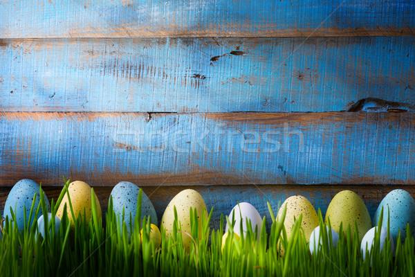 Művészet színes húsvéti tojások zöld zöld fű tavasz Stock fotó © Konstanttin