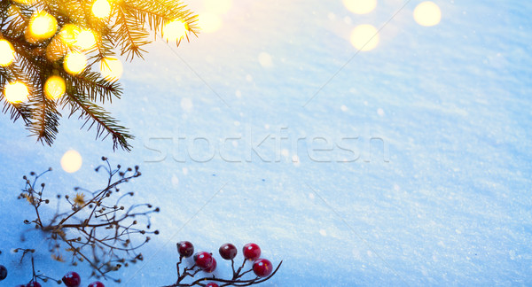 art Snow Christmas tree, Holly Berry and holidays light; real wi Stock photo © Konstanttin