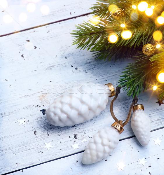 Karácsonyfa fény buli boldog háttér karácsony Stock fotó © Konstanttin