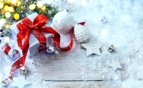 Foto stock: Natal · caixas · de · presente · neve · férias · luz · caixa · de · presente