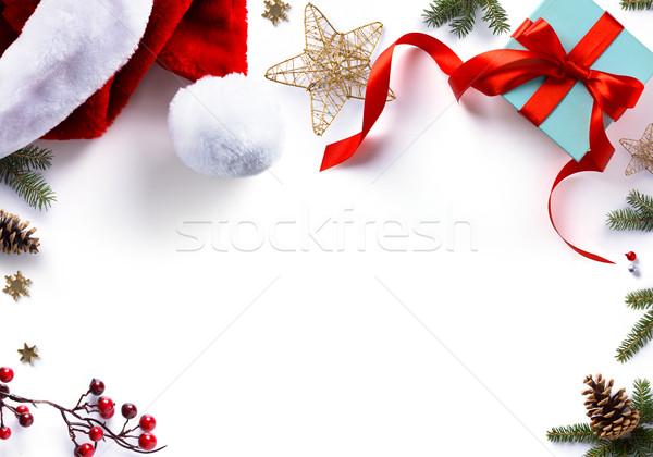Christmas gift, decorations and holidays sweet on white backgrou Stock photo © Konstanttin