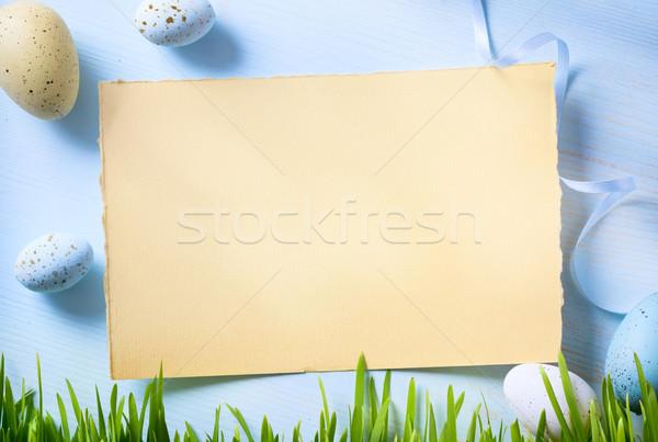 Пасху Христос воскрес пасхальных яиц весны фон таблице Сток-фото © Konstanttin