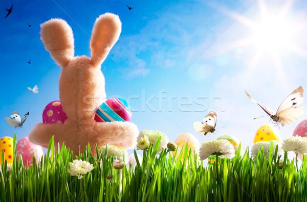 Сток-фото: искусства · Пасху · Тедди · Bunny · пасхальных · яиц · зеленая · трава