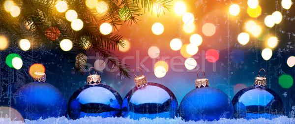 Foto stock: Azul · Navidad · vacaciones · navidad · decoración · nieve