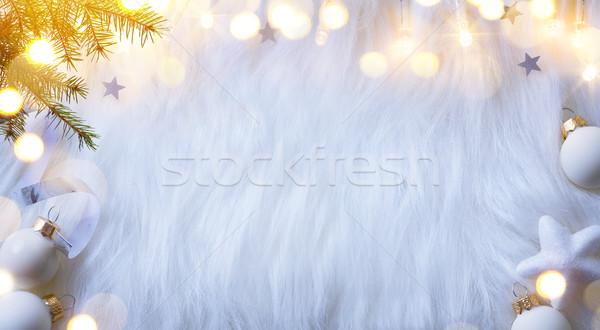 Karácsony dekoráció fenyőfa ágak ünnepek fény Stock fotó © Konstanttin