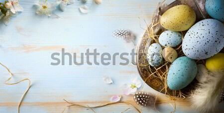Művészet kellemes húsvétot nap húsvéti tojás tavaszi virágok tavasz Stock fotó © Konstanttin