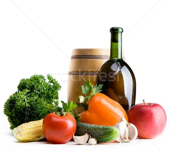 Экологически чистые продукты питания Фермеры продовольствие вино фрукты Сток-фото © Konstanttin