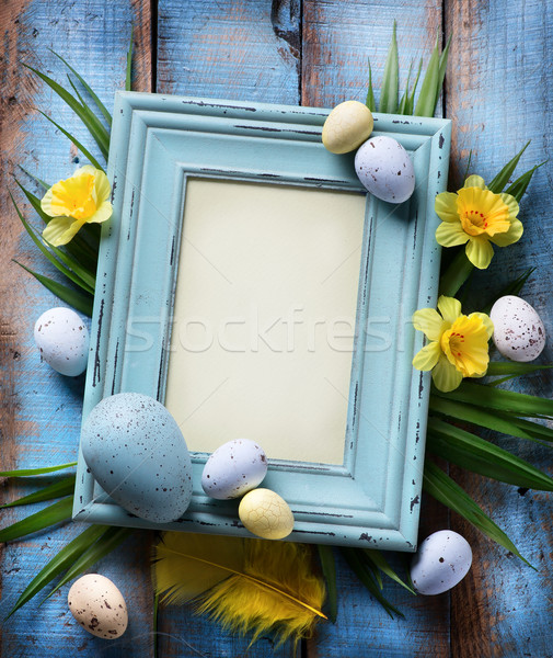 art Easter Background with easter eggs on wooden background Stock photo © Konstanttin