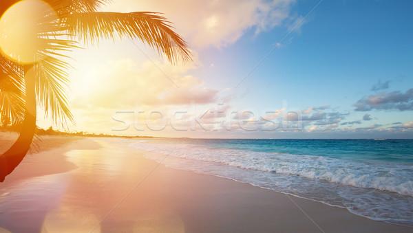 Kunst zomervakantie oceaan strand mooie zonsopgang Stockfoto © Konstanttin