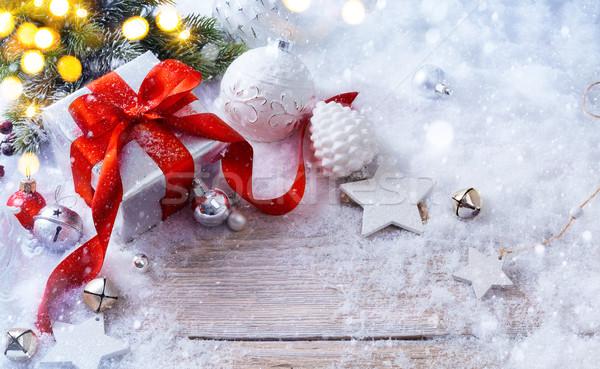 Noel hediye kutuları kar tatil ışık hediye kutusu Stok fotoğraf © Konstanttin
