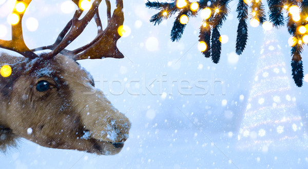 art Christmas holidays background with  Santa Claus deer and Chr Stock photo © Konstanttin