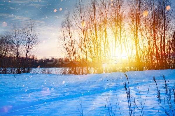 Snowy winter Christmas Landscape; sunset over the snow-covered m Stock photo © Konstanttin