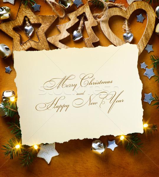 Művészet karácsonyfa fény karácsony papír autó Stock fotó © Konstanttin