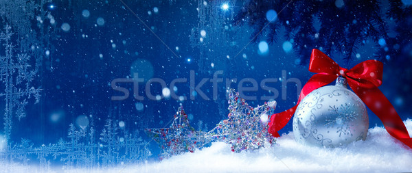 art blue snow christmas background Stock photo © Konstanttin