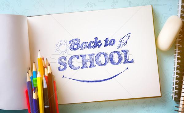 Művészet üdvözlet vissza az iskolába szalag tanszerek papír Stock fotó © Konstanttin