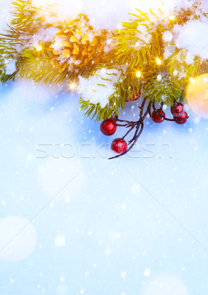 Kunst christmas sneeuw kerstboom decoraties Stockfoto © Konstanttin