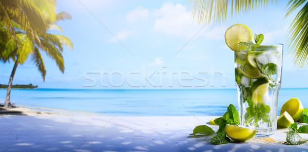 Сток-фото: Летние · каникулы · экзотический · напитки · Blur · тропический · пляж