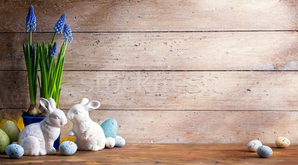 Kunst Osterhase Ostereier Frohe Ostern Tag Familie Stock foto © Konstanttin