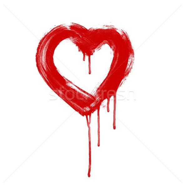 Művészet festett szív szeretet festmény sziluett Stock fotó © Konstanttin