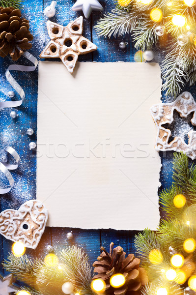 art Christmas background with fir tree branches and holidays dec Stock photo © Konstanttin