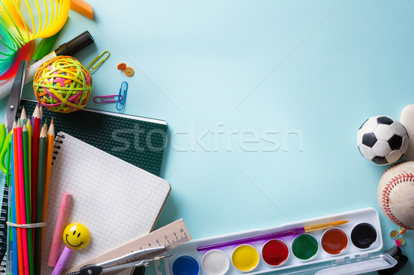 Kunst welkom terug naar school banner schoolbenodigdheden school Stockfoto © Konstanttin
